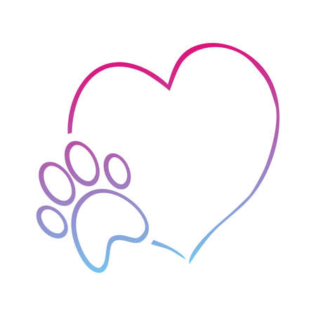 dogs paw and heart, neon vector illustration, white background 矢量图像