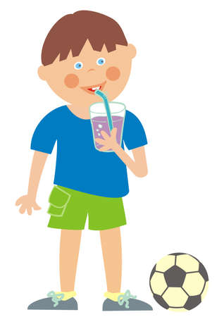 boy and cold drink, adherence to the drinking regime during sports, vector illustration 矢量图像