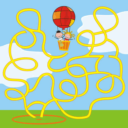 labyrinth, balloon with smilingg kids, find way to target, vector illustration