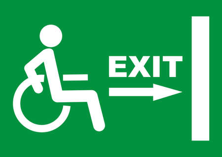 green exit sign plate with a disabled, man figure and arrow to the door as an instruction for directions in case of an emergency, vector icon