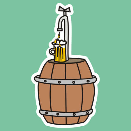 keg with beer, faucet, vector illustration on green background, white contour