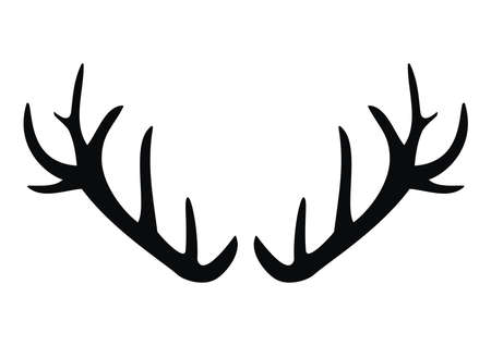 Antlers of deer, black vector conceptual icon on white background