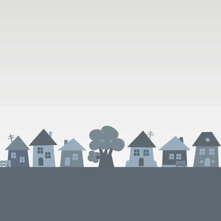 Village, group of houses and tree, gray vector illustration, conceptual picture, banner 矢量图像