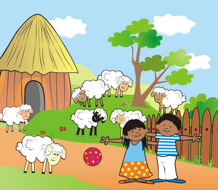 African village and kids on farm, vector illustration. Rural scene with african kids and sheeps. 矢量图像
