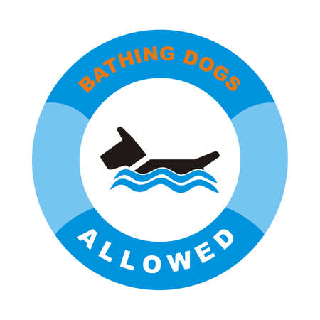 Bathing dogs allowed. Vector sign. Blue circle frame, white and red text