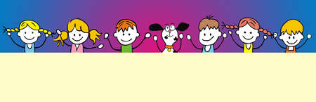 six children with dog, conceptual vector humorous illustration, your text 矢量图像