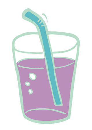 Drink in a glass with a straw, vector illustration, color picture ond white background