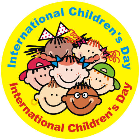 International Children's Day, portrait of girls and boys, yellow circle background, vector funny illustration, crowd from heads of happy kids. Czech language text.