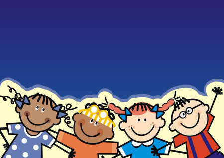 Four happy kids, girls and boys on blue background, conceptual vector illustration