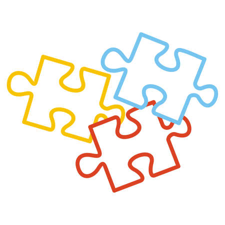 Puzzle, part of three elements, yellow, red and blue colors, contour drawing, vector icon 矢量图像