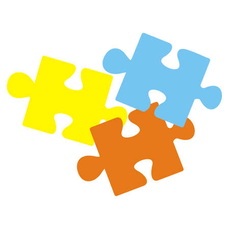 Puzzle, part of three elements, yellow, red and blue colors, vector icon 矢量图像