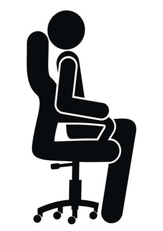 person on ergonomic office chair, black silhouette, vector icon