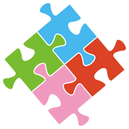 Puzzle, part of four elements, green, blue, red and pink colors, vector icon