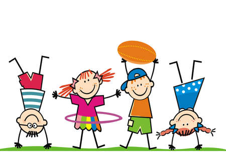 Four sports children on playground, little girls and boys, funny vector illustration on white background.