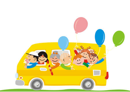 Family road trip, people at yellow car with balloons, sweet and ice cream, funny vector illustration 矢量图像
