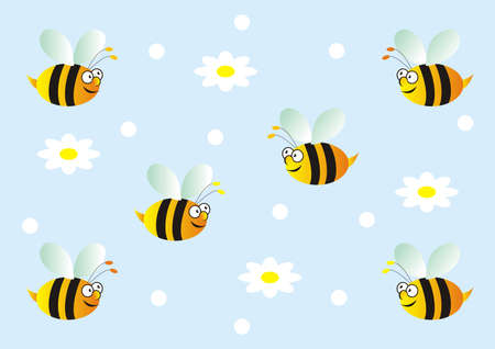 Flying bees on the sky and white flowers, wallpaper, funny vector illustration