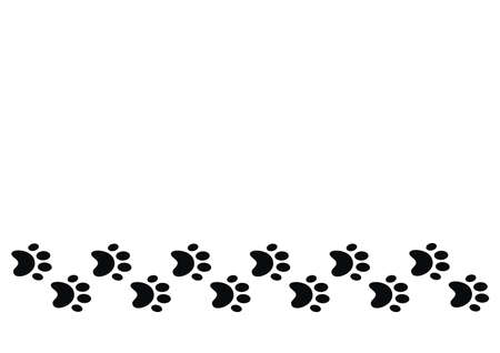 Wallpaper, paws, in a row, black conceptual vector illustration on white background,