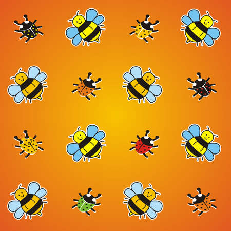 Wallpaper, ladybirds and bees on orange background, funny vector illustration