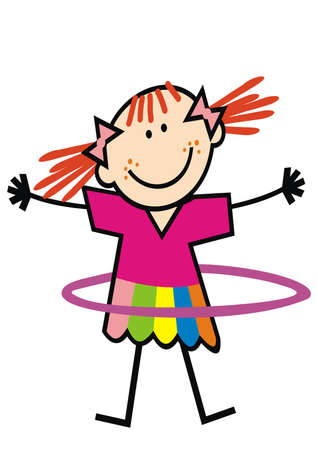 Girl and hula hoop, cute vector illustration. Little wench practicing with a circle.