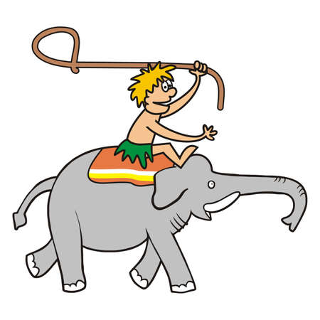 elephant and hunter with lasso, color vector illustration on white background