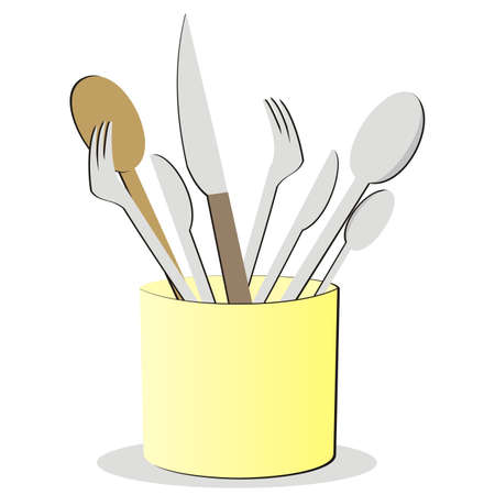 set of cutlery at box, dish drainer, vector illustration, color picture