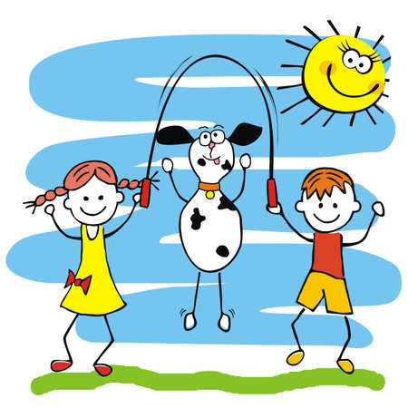 Happy kids with dog and jump rope, vector illustration, blue background