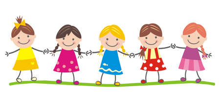 Five girls hold hands, cute vector illustration