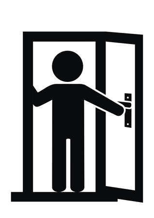 Person in the open door, black and white vector icon on white background