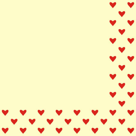 Red hearts on yellow background, wallpaper, vector 矢量图像