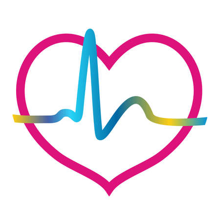 heartbeat, chart, red and neon colors, vector icon 矢量图像