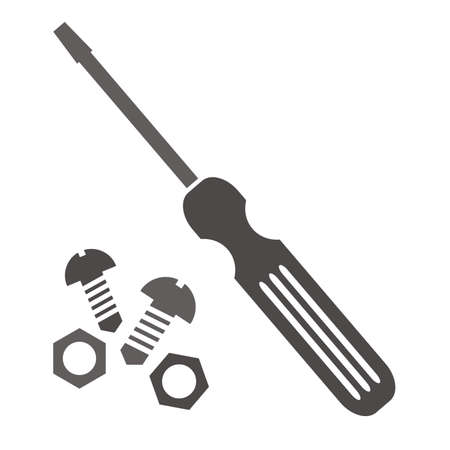 Set of tools, nuts, bolts and screwdriver, vector icons, gray color