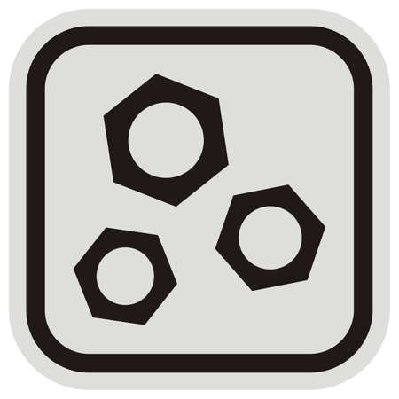 three nuts, black vector icon at gray and black frame, isolated object