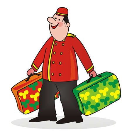 porter at uniform with suitcases, funny illustration