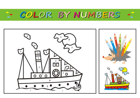 steamboat, coloring book, color by numbers. Number coloring page for preschool children. Learn numbers for kindergartens and schools. Educational game. Worksheet for education.