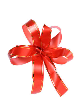 Red gift ribbon with bow isolated on white background photo
