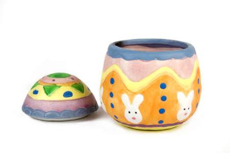 Decorative handmade easter egg on white background Stock Photo - 2486925