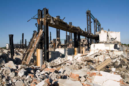 detritus: Industrial building under demolition Stock Photo