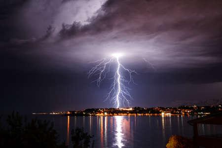 lightning strike: Storm on the coast of Adriatic, Croatia