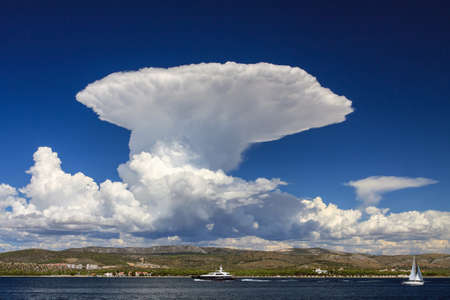 Huge cumulonimbus cloud over the sea coast. Photo taken in Dalmatia (Croatia)