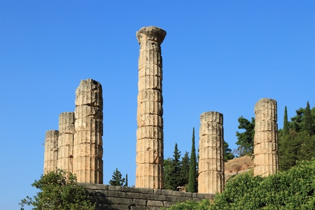 Apoollo temple in Delphi, Greece. Stock Photo