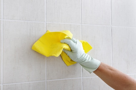 Hand cleaning wall. Stock Photo - 10297680