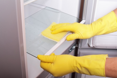 Hands cleaning refrigerator. photo