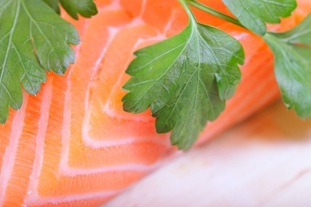Fillet of salmon and parsley. Stock Photo - 11677597