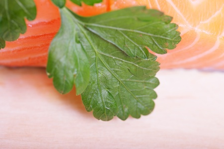 Fillet of salmon and parsley. Stock Photo - 11677594