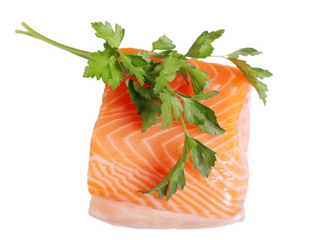 Salmon fillet and parsley. Stock Photo - 11677599
