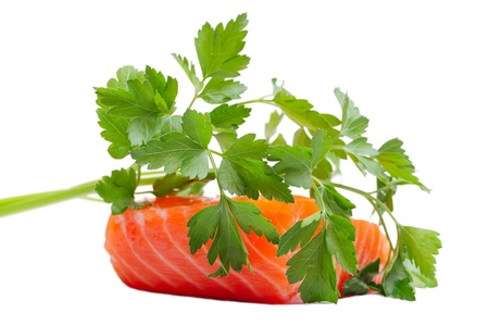 Salmon fillet and parsley. Stock Photo - 11677602