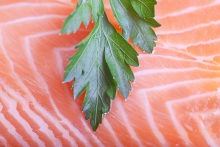 Parsley on salmon fillet. Stock Photo - 11737897