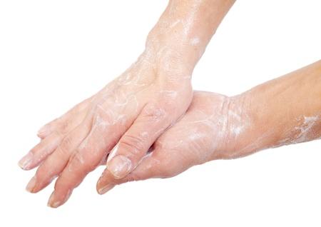 lavandose las manos: Lavarse las manos aisladas en blanco. Foto de archivo