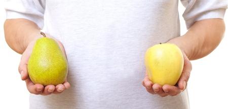 pera: Las frutas en las manos. Foto de archivo