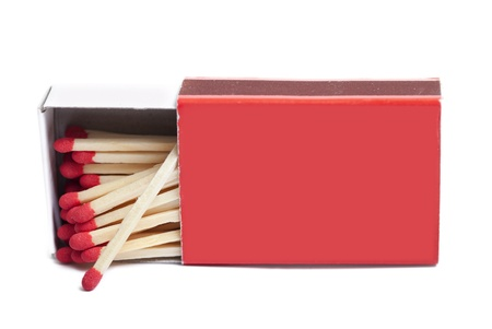 Red matchbox isolated on white.